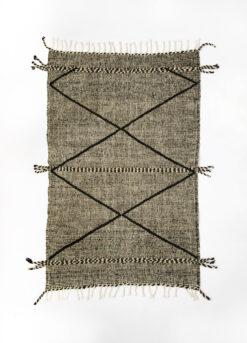 marokkansk-berber-taeppe-haendlavet-i-uld-i farverne-sort-og-raehvid-med-geometrisk-moenster