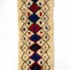 marokkansk-berber-taeppe-haendlavet-i-uld-i farverne-blaa-roed-brun-og-raehvid-med-geometrisk-moenster